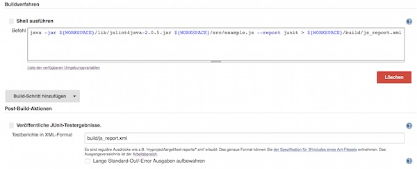 Jslint Jenkins Configuration