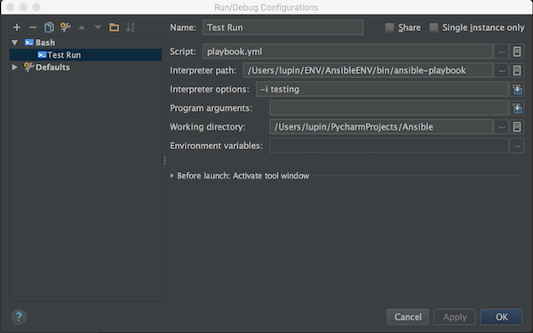 PyCharm and Ansible