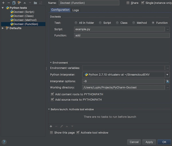 pycharm doctest for function