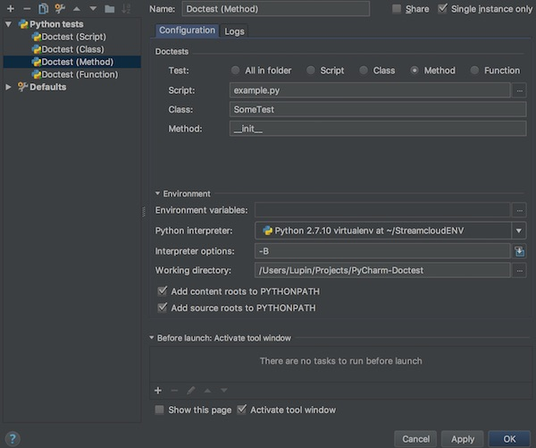 pycharm doctest for method