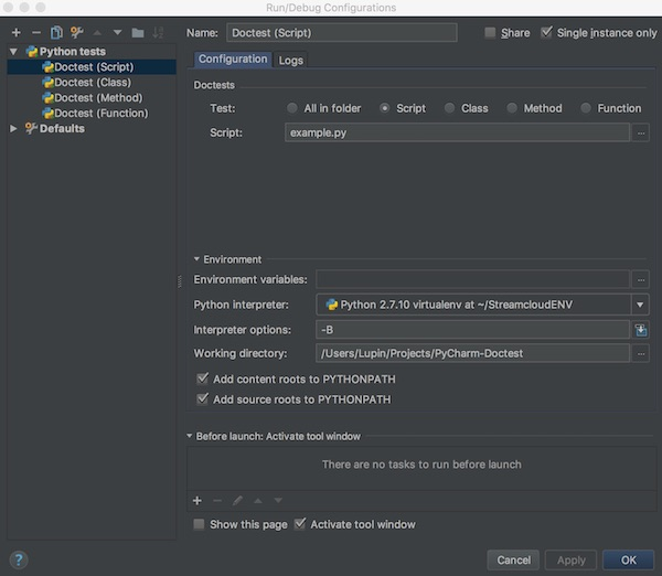 pycharm doctest for script