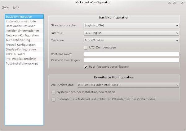 Kickstart-Konfigurator