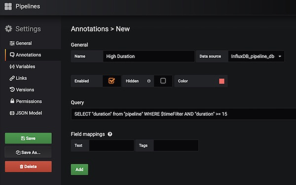 Grafana Annotations Pipelines