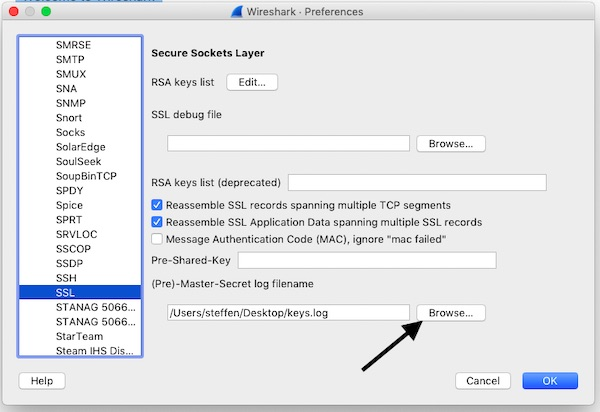Wireshark SSL Settings