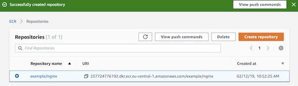 AWS ECR repository overview
