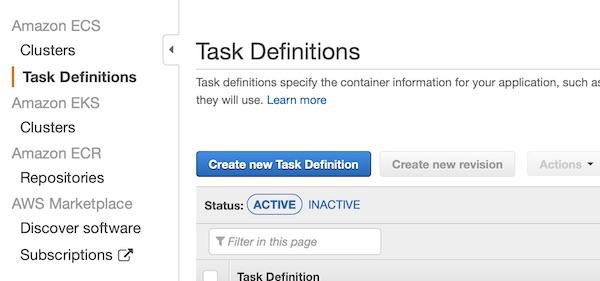 AWS ECS task definition