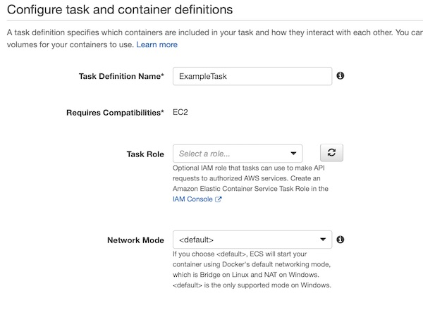 AWS ECS task definition name