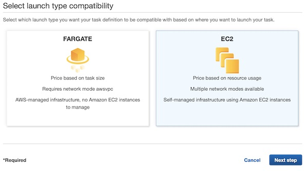 AWS ECS task launch type