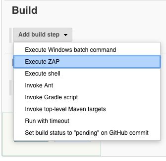 Add build step Execute ZAP