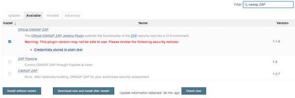 Jenkins Plugin OWASP ZAP