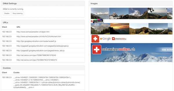 DWall report on Wifi Pineapple UI