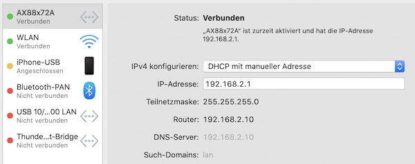 Configure device as DHCP with manual address.